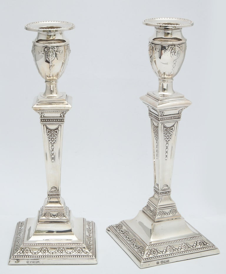 Pair of Victorian Adam-Style Sterling Silver Candlesticks For Sale 3