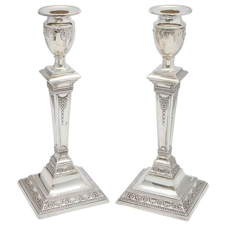 Pair of Victorian Adam-Style Sterling Silver Candlesticks For Sale