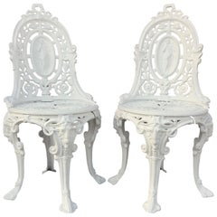 Pair of Victorian Angel Motif Wrought Iron Garden Chairs, Restored