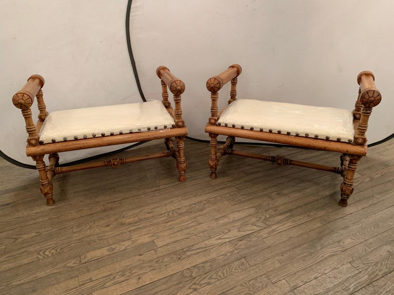 British Pair of Victorian Antique Benches For Sale