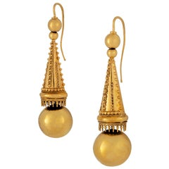 Pair of Victorian Archaeological Revival Drop Earrings
