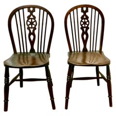 Pair of Victorian Beech and Elm Wheel Back Chairs