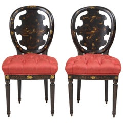 Pair of Victorian Black Japanned and Gilt Side Chairs