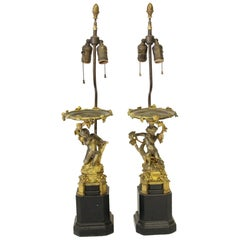 Pair of Victorian Brass Cherubic Onate Table Lamps with Two Lights Each