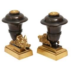 Pair of Victorian Bronze Boar Head Mantle Ornaments Hinks & Sons, circa 1865