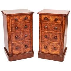 Pair of Victorian Burr Walnut Antique Bedside Cupboards/Nightstands