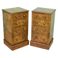 Pair of Victorian Burr Walnut Bedside Chests