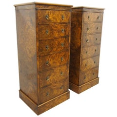 Pair of Victorian Burr Walnut Chest of Drawers