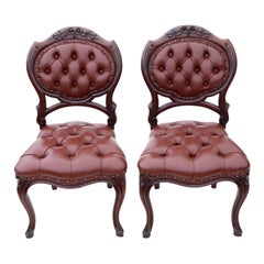 Pair of Victorian circa 1870 Mahogany Hall, Side, Bedroom or Dining Chairs
