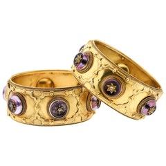 Pair of Victorian Carlo Giuliano 18 Karat Gold Amethyst Diamond Cuff Bracelets
