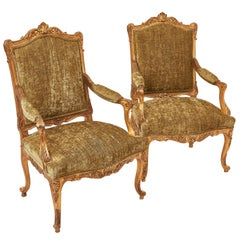Pair of Victorian Carved Giltwood Armchairs, circa 1860