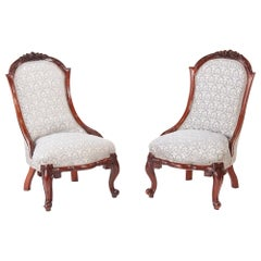 Pair of Victorian Carved Walnut Ladies Chairs