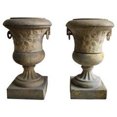 Pair of Victorian Clay Garden Urns on Pedestals