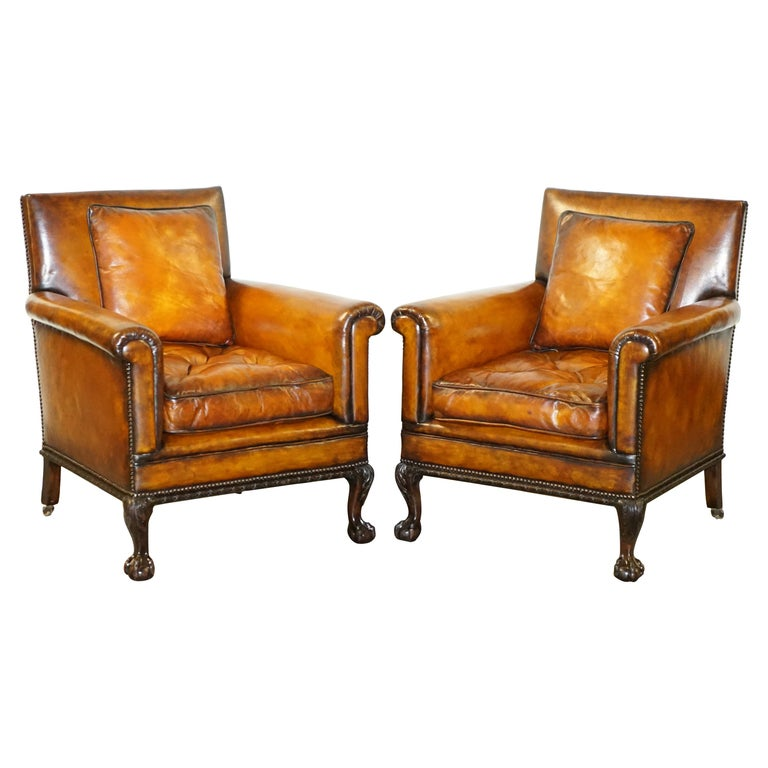 Pair of Victorian Club Armchairs Claw and Ball Feet Brown Leather Full Restored For Sale