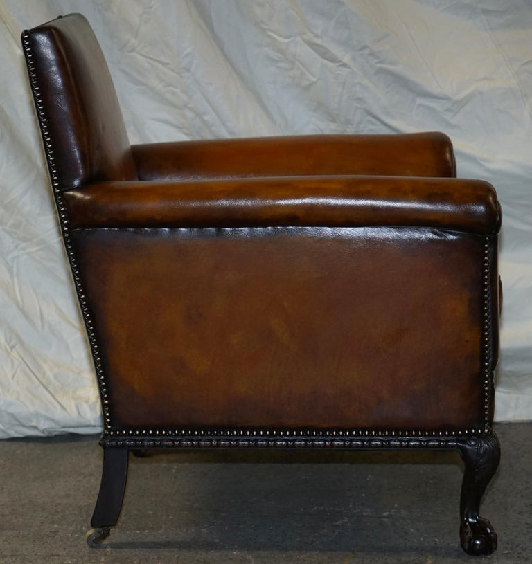 Pair of Victorian Club Armchairs Claw and Ball Feet Brown Leather Full Restored For Sale 7
