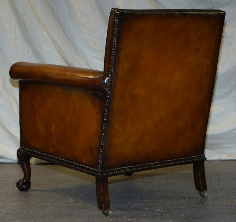 Pair of Victorian Club Armchairs Claw and Ball Feet Brown Leather Full Restored For Sale 9
