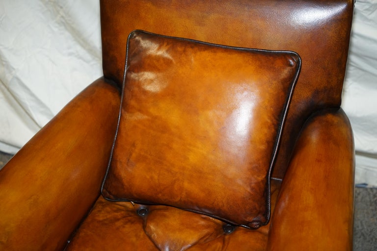 Pair of Victorian Club Armchairs Claw and Ball Feet Brown Leather Full Restored For Sale 12