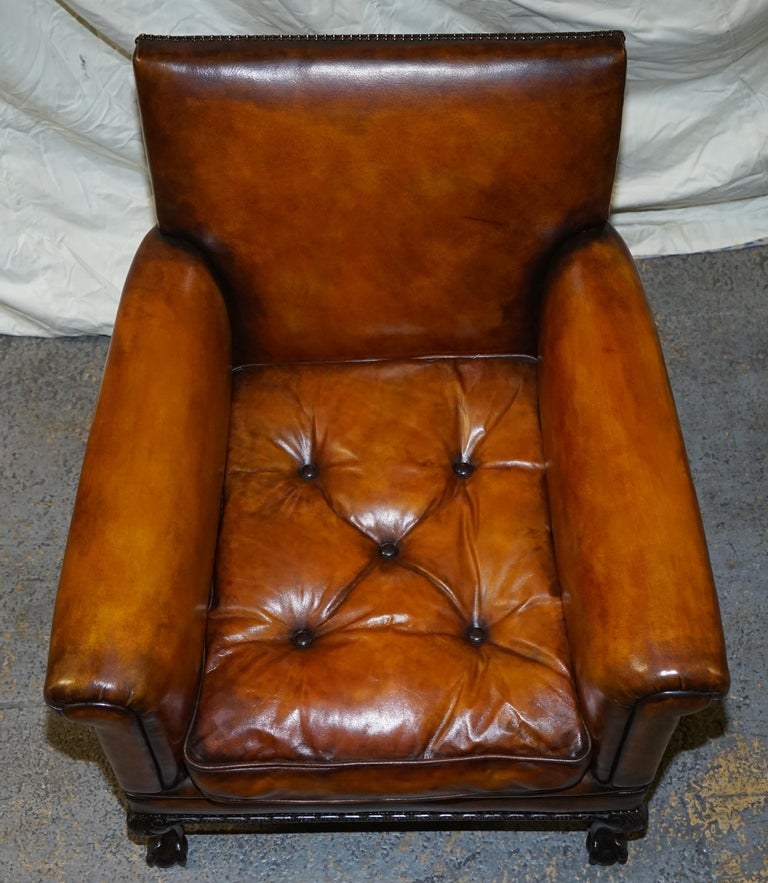 Pair of Victorian Club Armchairs Claw and Ball Feet Brown Leather Full Restored For Sale 13