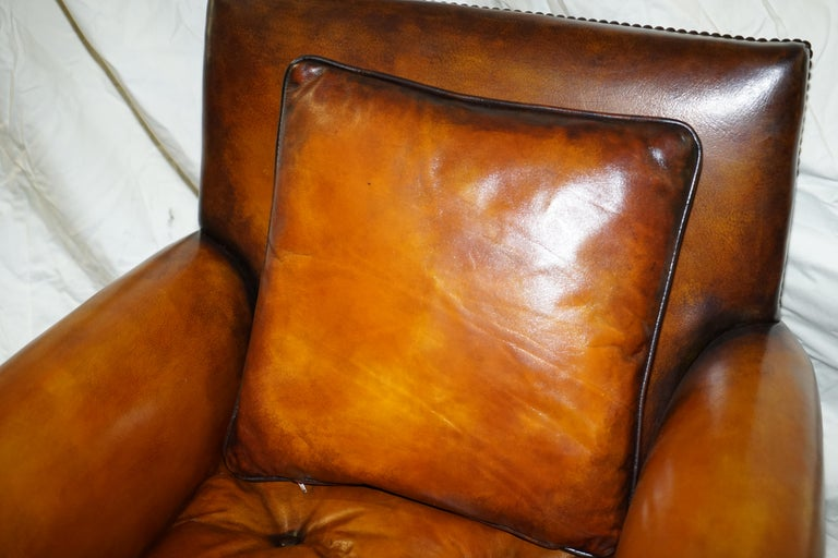 Hand-Crafted Pair of Victorian Club Armchairs Claw and Ball Feet Brown Leather Full Restored For Sale
