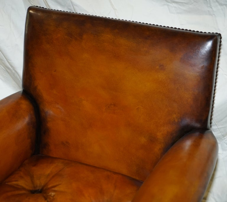 Mid-19th Century Pair of Victorian Club Armchairs Claw and Ball Feet Brown Leather Full Restored For Sale