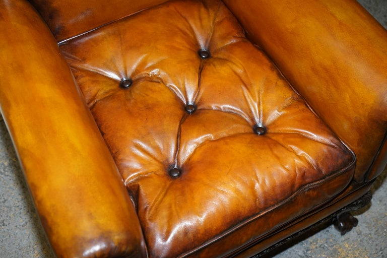Pair of Victorian Club Armchairs Claw and Ball Feet Brown Leather Full Restored For Sale 2