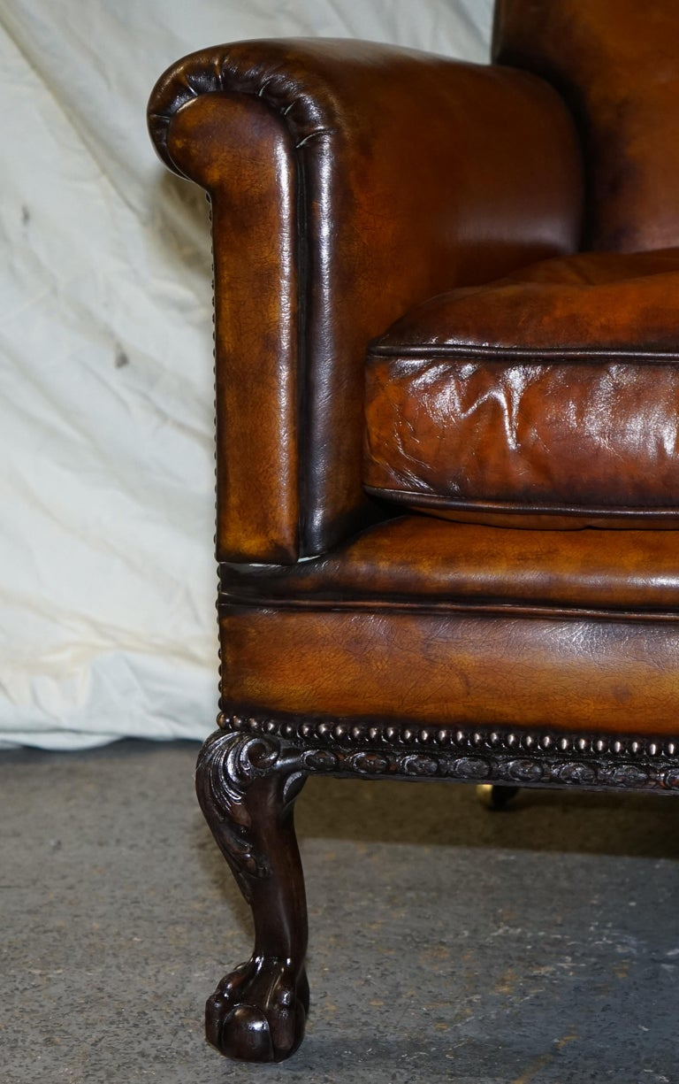 Pair of Victorian Club Armchairs Claw and Ball Feet Brown Leather Full Restored For Sale 3