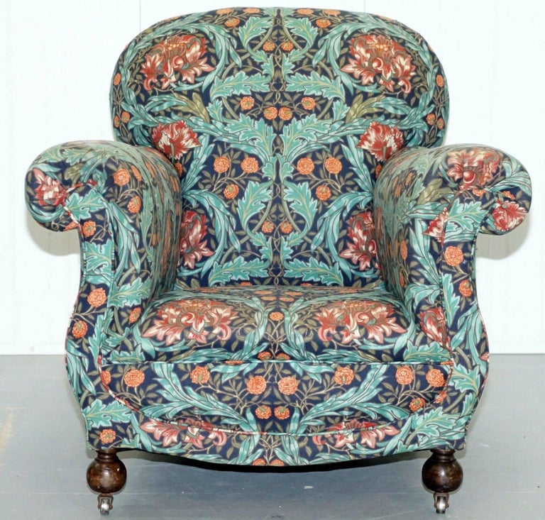 Pair Of Victorian Club Armchairs In William Morris Upholstery Fabric