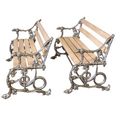 Pair of Victorian Coalbrookdale Benches