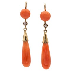 Pair of Victorian Coral and Pearl Drop Earrings