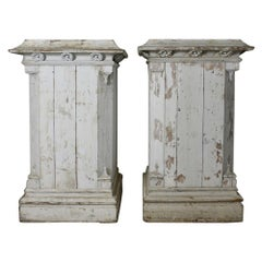 Pair of Victorian Country House Scale Painted Pine Pedestals