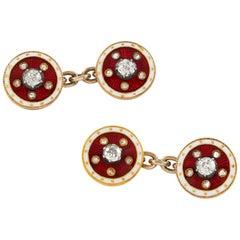 Pair of Victorian Diamond and Red Enamel Cufflinks