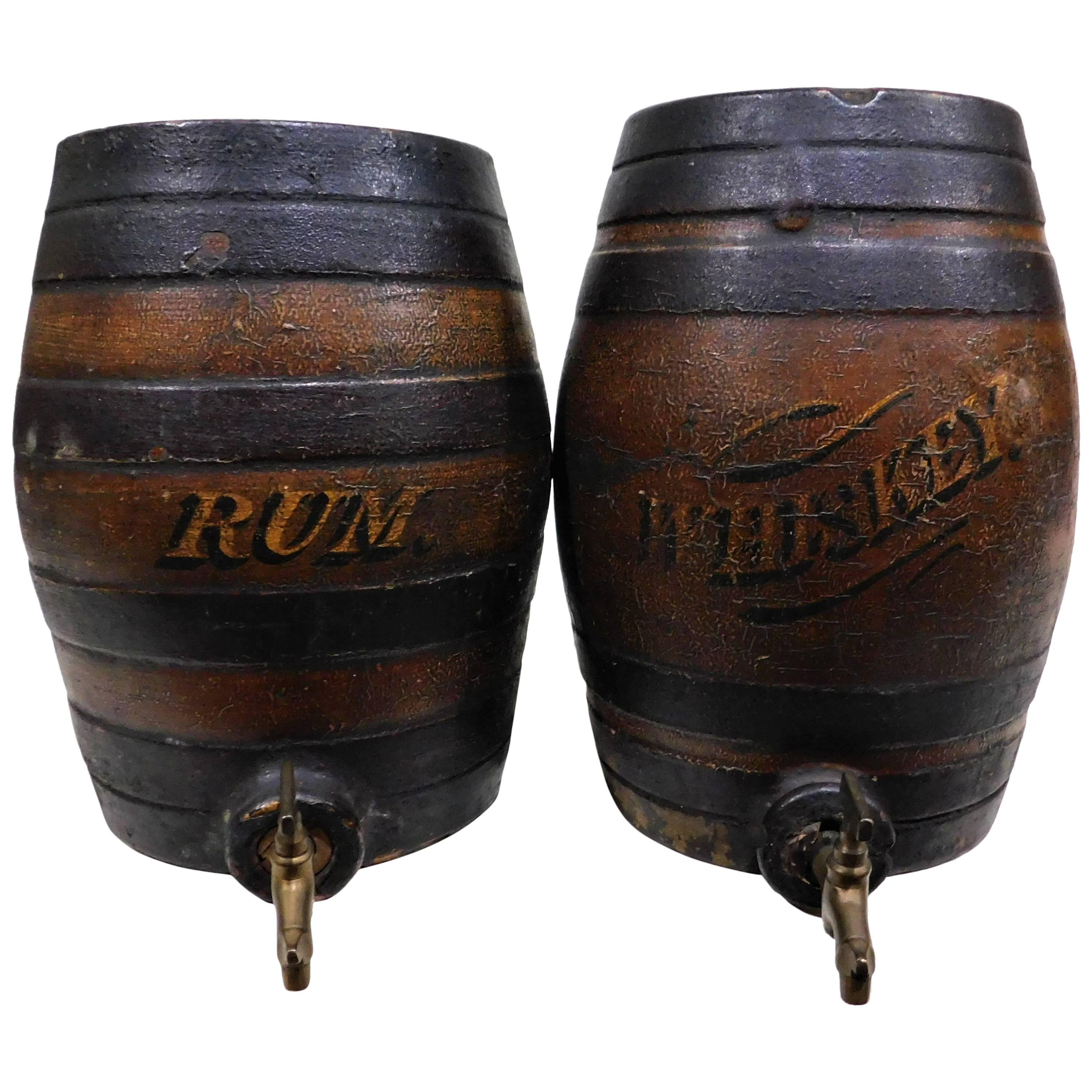 Pair of Victorian Earthenware Pottery Rum and Whiskey Liquor Cask Barrel Kegs