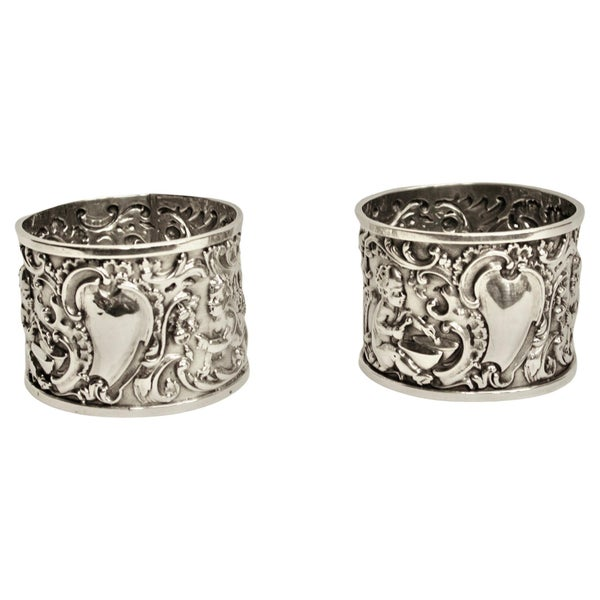 Pair of Victorian Embossed Silver Napkin Rings, dated 1895,William Richard Corke
