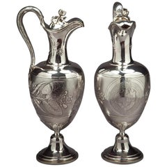 Pair of Victorian English Silver Ewers