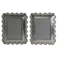 Pair of Victorian English Sterling Silver Photograph Frames, 1898