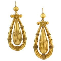 Pair of Victorian Etruscan Revival Gold Drop Earrings