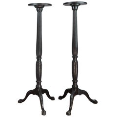 Pair of Victorian Fluted Mahogany Torcheres with Ball and Claw Tripod Feet