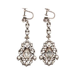 Pair of Victorian French Pendeloque Sterling Silver Paste Long Dangle Earrings