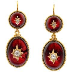Pair of Victorian Garnet and Diamond Drop Earrings