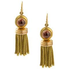 Pair of Victorian Garnet and Gold Tassel Earrings