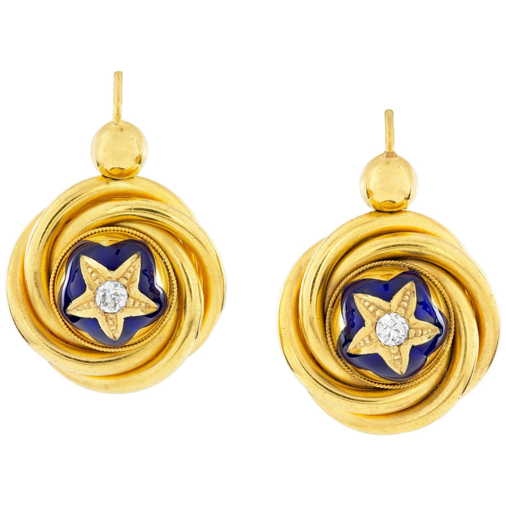 Pair of Victorian Gold, Diamond and Enamel Drop Earrings