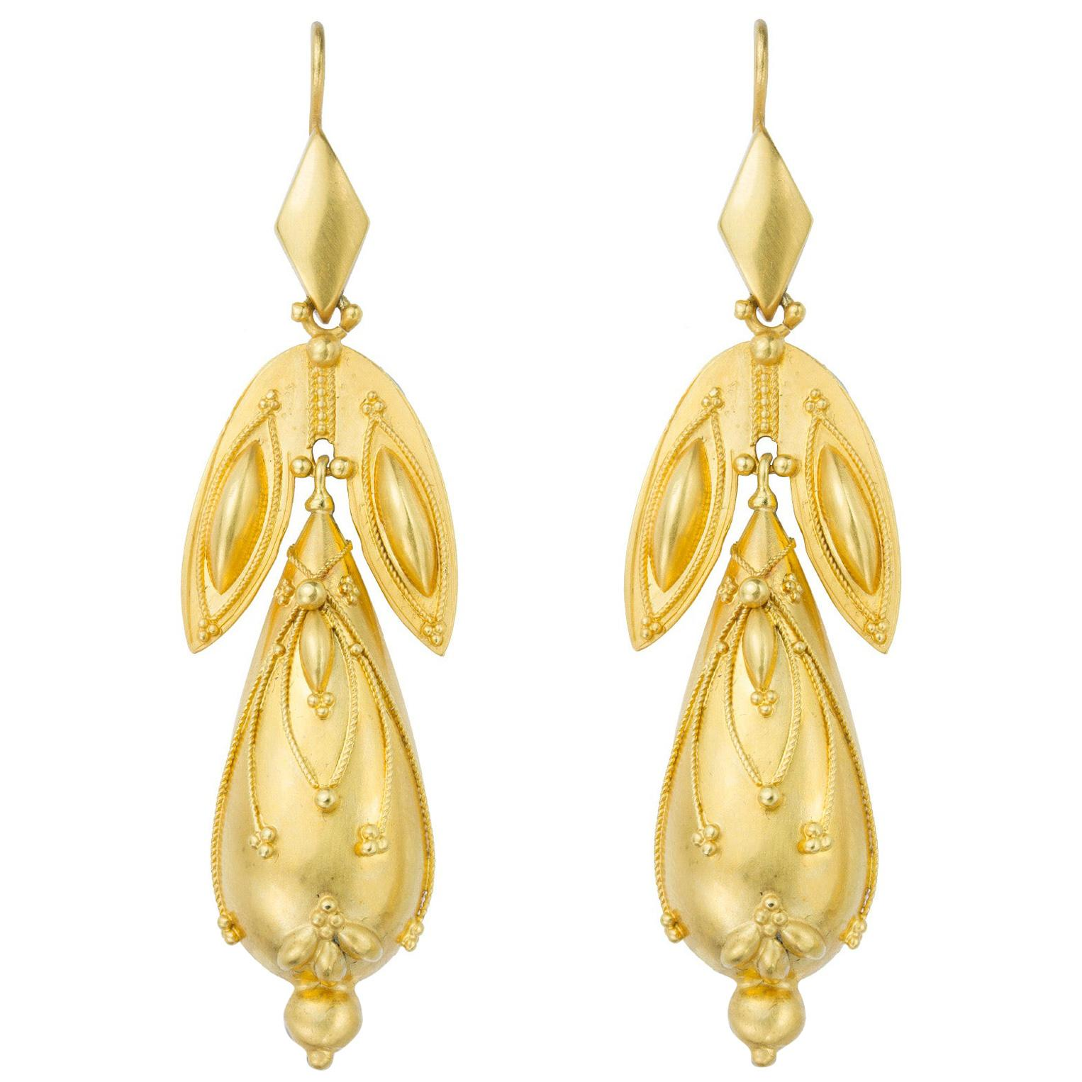 Pair of Victorian Gold Drop Earrings