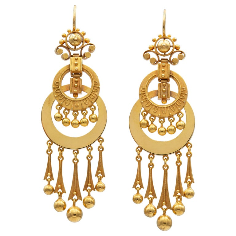 Pair of Victorian Gold Drop Earrings For Sale