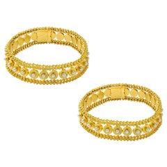 Pair of Victorian Half Pearl Gold Bracelets