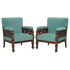 Pair of Victorian Hand Carved Lion Hairy Paw Griffon Armchairs William Kent