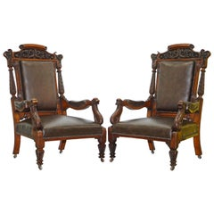 Pair of Victorian Hand Ornately Carved Library Reading Armchairs Brown Leather