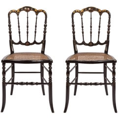 Pair of Victorian Lacquer and Cane Side Chairs with Mother-of-pearl Inlay