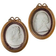 Pair of Victorian Marble Portrait Plaques