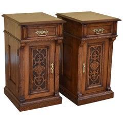 Pair of Victorian Oak Bedside Cupboards