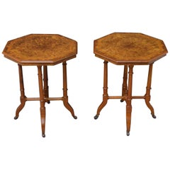 Pair of Victorian Occasional Tables in Burr Walnut